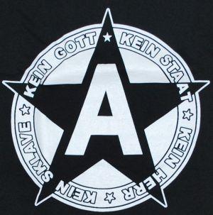 Detailansicht T-Shirt: Kein Gott Kein Staat Kein Herr Kein Sklave