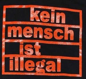 Detailansicht Kapuzen-Jacke: Kein Mensch ist illegal (orange)