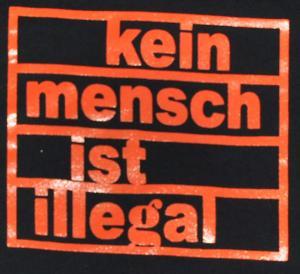 Detailansicht Sweat-Jacket: Kein Mensch ist illegal (orange)