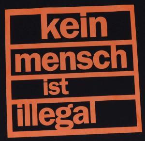 Detailansicht Tanktop: Kein Mensch ist illegal (orange)