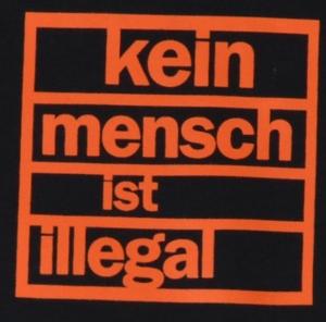 Detailansicht Babybody: Kein Mensch ist illegal (orange)