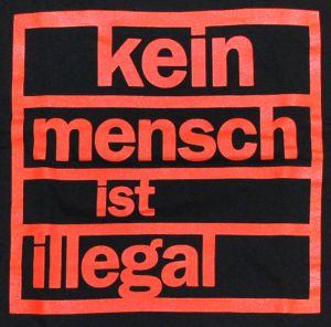 Detailansicht T-Shirt: Kein Mensch ist illegal (orange)