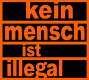 Detailansicht Girlie-Shirt: Kein Mensch ist illegal (orange)
