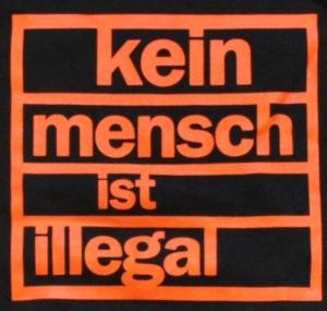 Detailansicht Kapuzen-Pullover: Kein Mensch ist illegal (orange)