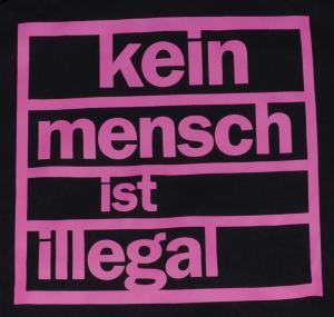Detailansicht Kapuzen-Pullover: Kein Mensch ist illegal (pink)