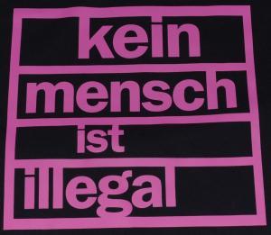 Detailansicht Girlie-Shirt: Kein Mensch ist illegal (pink)
