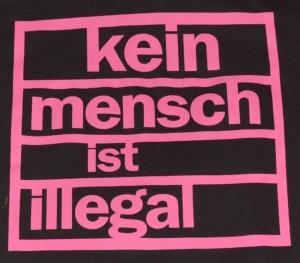 Detailansicht taillierter Kapuzen-Pullover: Kein Mensch ist illegal (pink)