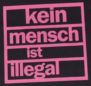 Detailansicht Fairtrade T-Shirt: Kein Mensch ist illegal (pink)