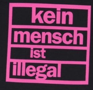 Detailansicht Babybody: Kein Mensch ist illegal (pink)