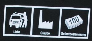 Detailansicht Girlie-Shirt: Liebe - Glaube - Selbstbestimmung