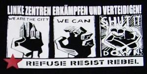 Detailansicht tailliertes T-Shirt: Linke Zentren erkämpfen und verteidigen!