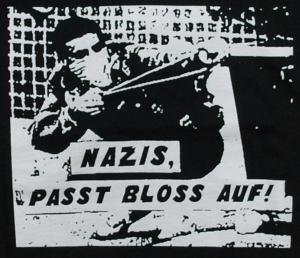 Detailansicht Girlie-Shirt: Nazis, passt bloss auf