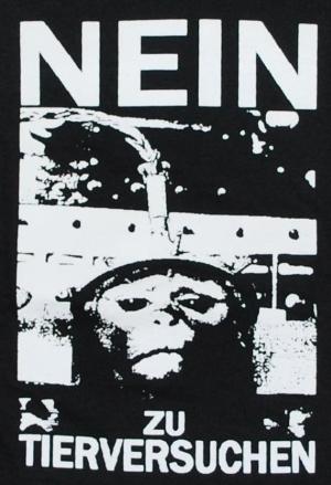Detailansicht Girlie-Shirt: Nein zu Tierversuchen