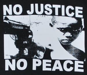 Detailansicht Sweat-Jacket: No Justice - No Peace