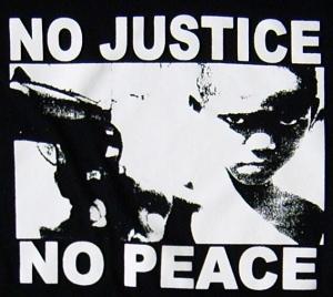 Detailansicht Girlie-Shirt: No Justice - No Peace