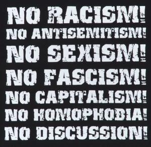 Detailansicht tailliertes Tanktop: No Racism! No Antisemitism! No Sexism! No Fascism! No Capitalism! No Homophobia! No Discussion