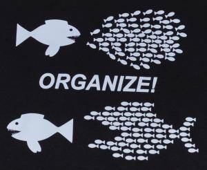 Detailansicht Girlie-Shirt: Organize! Fische