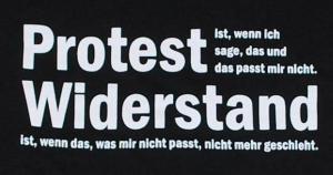 Detailansicht Kapuzen-Longsleeve: Protest ist, wenn ich sage, das und das passt mir nicht. Widerstand ist, wenn das, was mir nicht passt, nicht mehr geschieht.