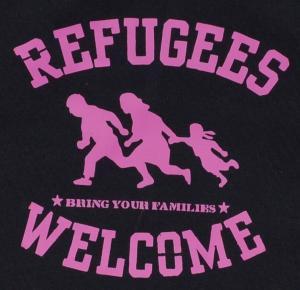 Detailansicht Kapuzen-Pullover: Refugees welcome (pink)