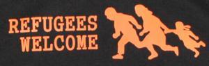 Detailansicht Kapuzen-Pullover: Refugees welcome (running family)
