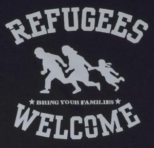 Detailansicht T-Shirt: Refugees welcome (schwarz/grauer Druck)