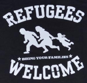 Detailansicht tailliertes Tanktop: Refugees welcome (weiß)