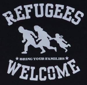 Detailansicht Tanktop: Refugees welcome (weiß)