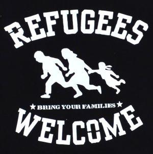 Detailansicht taillierter Kapuzen-Pullover: Refugees welcome (weiß)