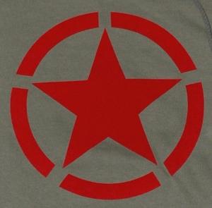 Detailansicht Kapuzen-Pullover: Roter Stern im Kreis (red star)