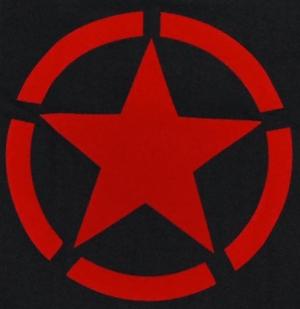 Detailansicht tailliertes T-Shirt: Roter Stern im Kreis (red star)