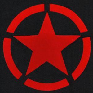 Detailansicht T-Shirt: Roter Stern im Kreis (red star)
