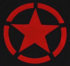 Detailansicht Kapuzen-Longsleeve: Roter Stern im Kreis (red star)