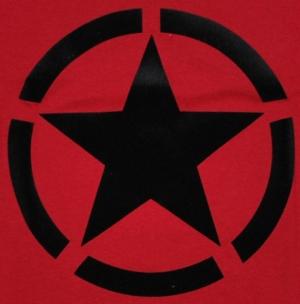 Detailansicht Girlie-Shirt: Schwarzer Stern im Kreis (Black Star)