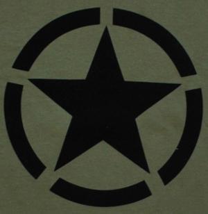 Detailansicht T-Shirt: Schwarzer Stern im Kreis (Black Star)