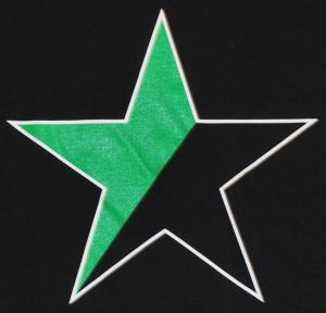 Detailansicht Girlie-Shirt: Schwarz/grüner Stern