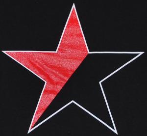 Detailansicht Girlie-Shirt: Schwarz/roter Stern