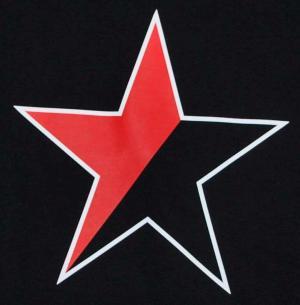 Detailansicht tailliertes Tanktop: Schwarz/roter Stern