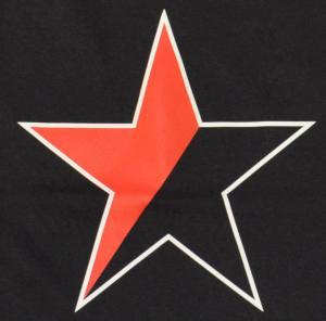 Detailansicht Trägershirt: Schwarz/roter Stern