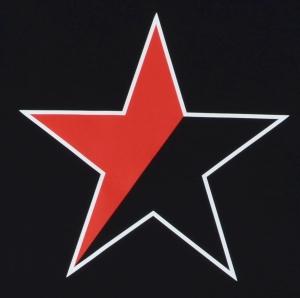 Detailansicht Fairtrade T-Shirt: Schwarz/roter Stern