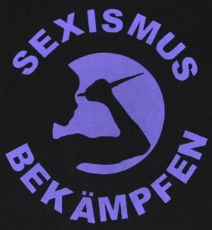 Detailansicht tailliertes T-Shirt: Sexismus bekämpfen (lila)