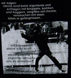 Detailansicht Trägershirt: Sie sagen: Steine sind keine Argumente