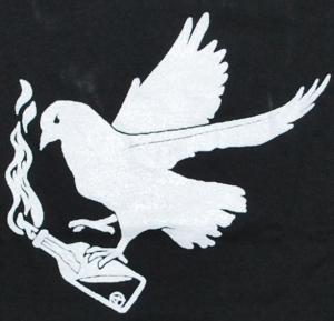 Detailansicht tailliertes T-Shirt: Taube mit Molli