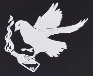 Detailansicht Fairtrade T-Shirt: Taube mit Molli