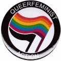 """Zum 25mm Button """"Queerfeminist Action"""" für 0,70 € gehen."""