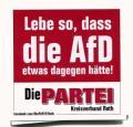 """Zum Aufkleber-Paket """"Lebe so, dass die AfD etwas dagegen hätte! (mit PARTEI-Unterstützungsbeitrag)"""" für 4,00 € gehen."""