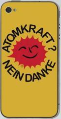 """Zum iPhone 4 - Aufkleber """"Atomkraft? Nein Danke"""" für 5,00 € gehen."""