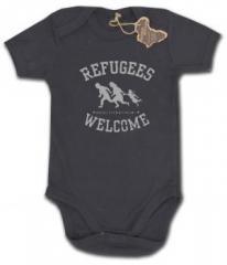 """Zum Babybody """"Refugees welcome (schwarz/grauer Druck)"""" für 9,90 € gehen."""
