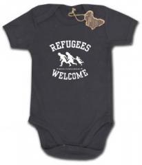 """Zum Babybody """"Refugees welcome"""" für 9,90 € gehen."""