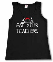 """Zum tailliertes Tanktop """"Eat your teachers"""" für 14,62 € gehen."""