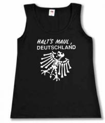 """Zum tailliertes Tanktop """"Halt's Maul Deutschland (weiß)"""" für 12,00 € gehen."""